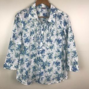 LAURA SCOTT Floral Button Front Ruffle Blouse